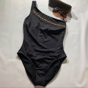 Kenneth Cole Chain Link Asymmetrical  Swimsuit